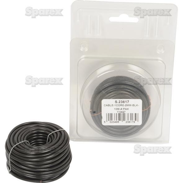 Elektrische kabel 1x2mm ZWART 10m AGRIPAK
