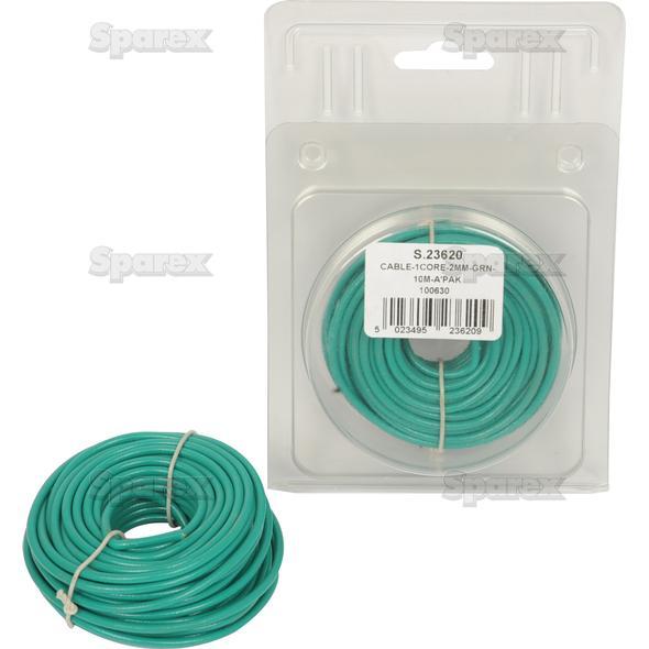 Elektrische kabel 1x2mm GROEN 10m AGRIPAK