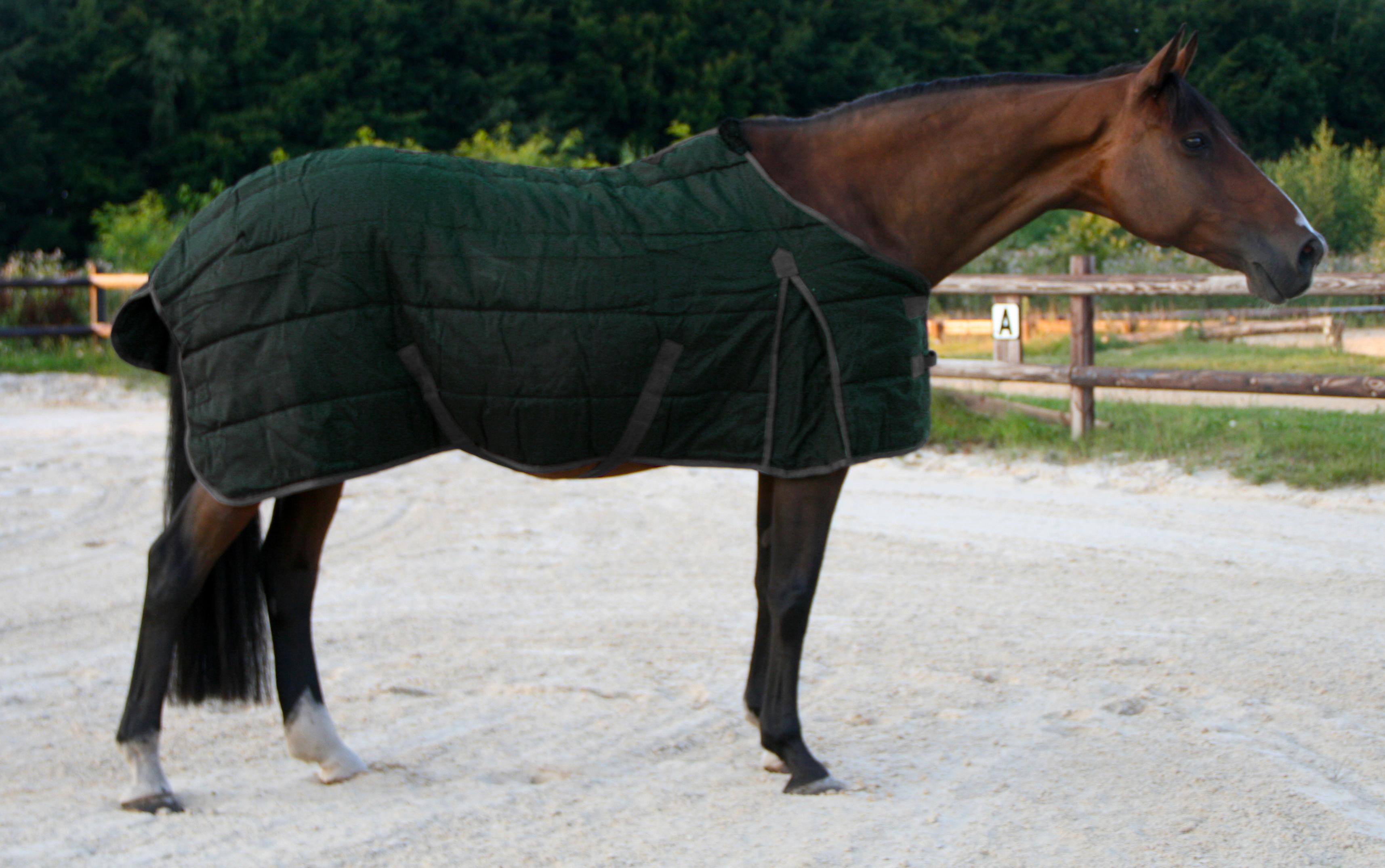 Excellent stal deken donker groen/grijs 165cm
