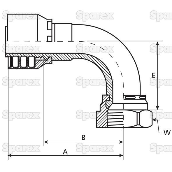 Parker JIC 37° Slang Aansluiting 1'' x 1 1/16 x 12 Vrouw 90° Perskoppeling (kort)