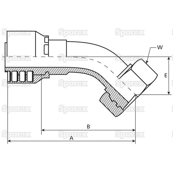 Parker Metrisch Slang Aansluiting 5/16'' x M14 x 1.5 Vrouw 135° Perskoppeling, Lichte Serie