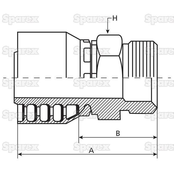 Parker Metrisch Slang Aansluiting 1'' x M36 x 2 Man Recht Zware Serie