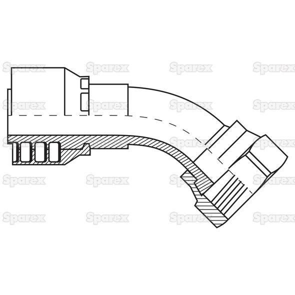 Parker Metrisch Slang Aansluiting 5/8'' x M30 x 2 Vrouw 135° Perskoppeling, Zware Serie