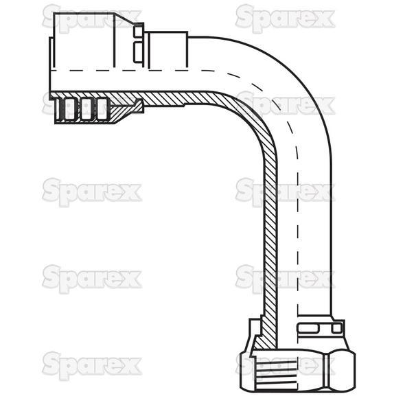 Parker ORFS Slang Aansluiting 5/8'' x 1 x 14'' Vrouw 90° Perskoppeling (Extra Long)