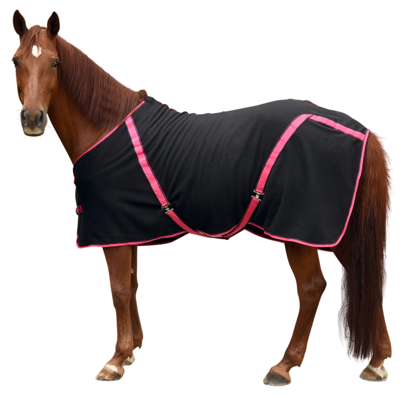 Fleece RugBe Classic Zwart/roze 175cm