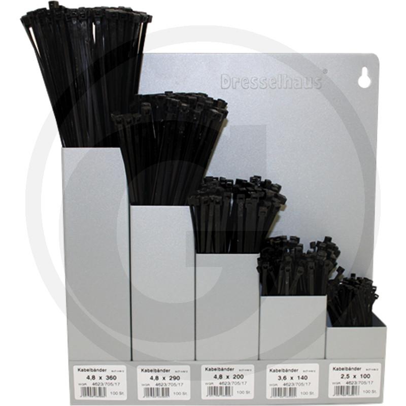 assortiment bundelbandjes compl. met wandhouder (metaal) 5-voudig