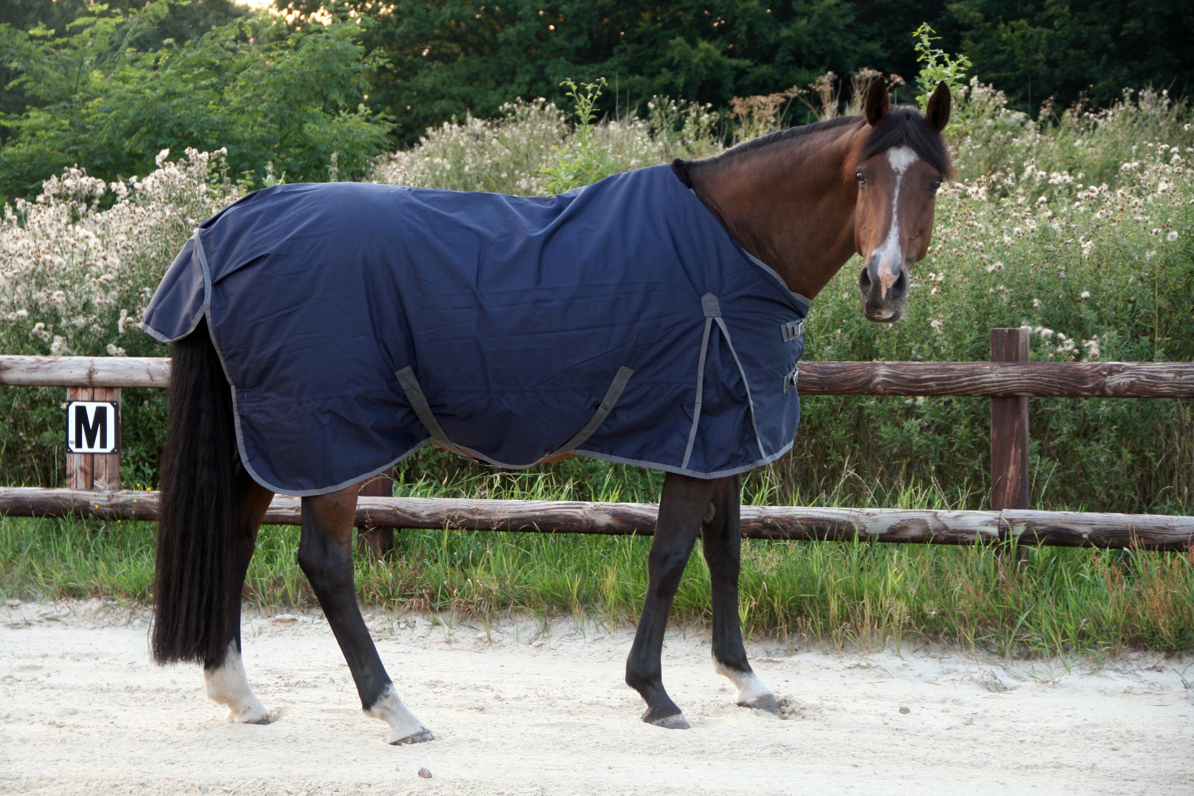 Excellent buiten deken donker blauw/grijs 165cm