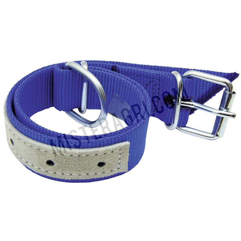 Halsband - voor kalveren, trevira-riem met D-ring en buisklem