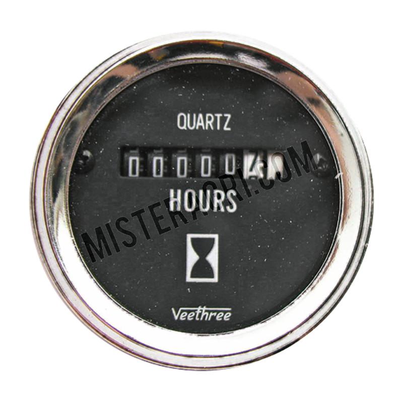 Bedrijfsurenteller - 8 - 28 V, analoog, Ø 52 mm, verchroomde ring