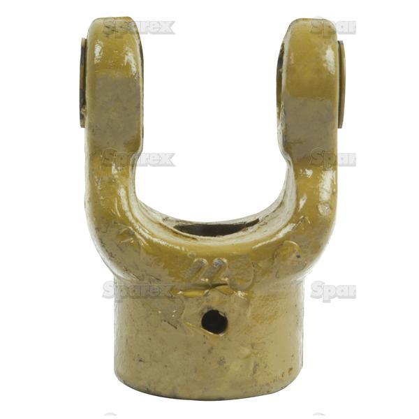 Aftakas Spiebaangaffels met stelbout (Afm. Kruisstuk: 22 x 54.8mm) Boring Ø20mm, Sleutelmaat: 6mm.