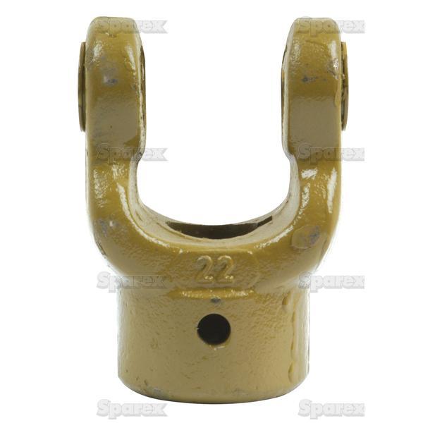 Aftakas Spiebaangaffels met stelbout (Afm. Kruisstuk: 22 x 54.8mm) Boring Ø25mm, Sleutelmaat: 8mm.