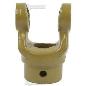Aftakas Spiebaangaffels met stelbout (Afm. Kruisstuk: 27 x 70mm) Boring Ø30mm, Sleutelmaat: 8mm.