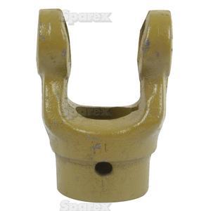 Aftakas Spiebaangaffels met stelbout (Afm. Kruisstuk: 27 x 70mm) Boring Ø35mm, Sleutelmaat: 10mm.