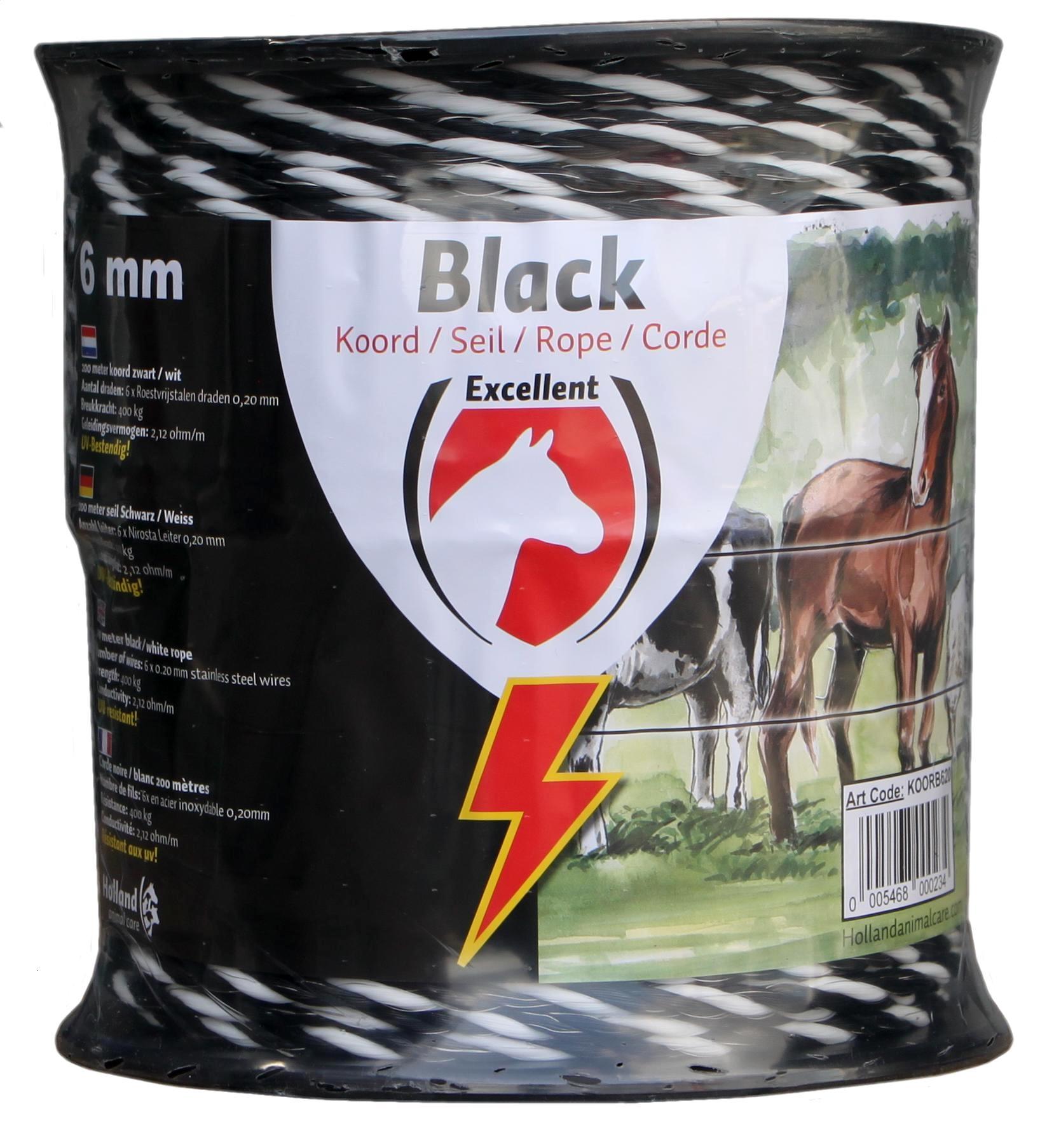 Koord Excellent Eco 200 m / 6 mm zwart / wit