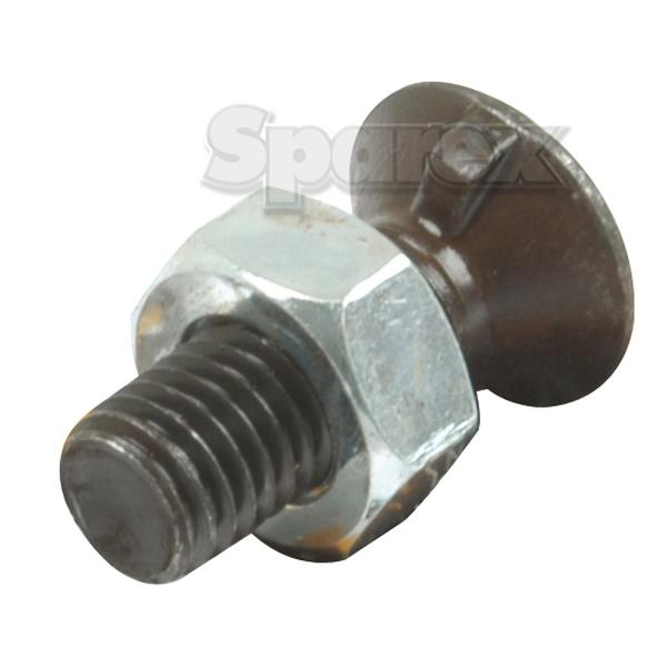 Round Countersunk Single Nib Bolt & Nut - M10 x 30mm, Treksterkte 8.8 To fit as: 04030201