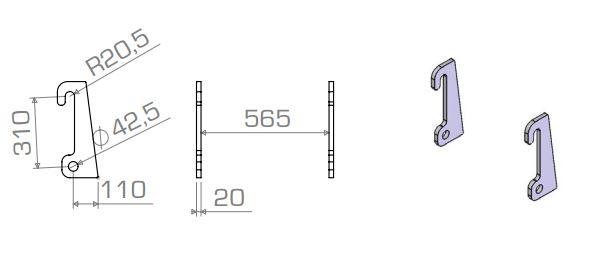 Aanlasdelen Giant / Fuchs recht 20mm