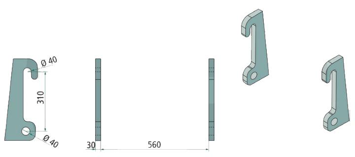 Aanlasdelen Giant / Fuchs recht 30mm