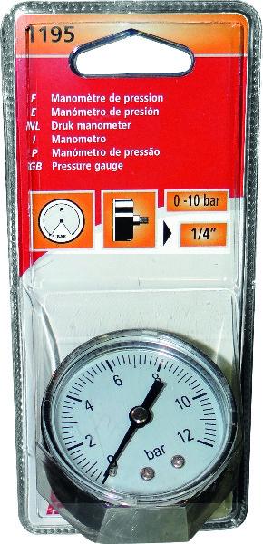 MANOMETER 10BAR D50 STEKKER ACHT.1/4''(1195)